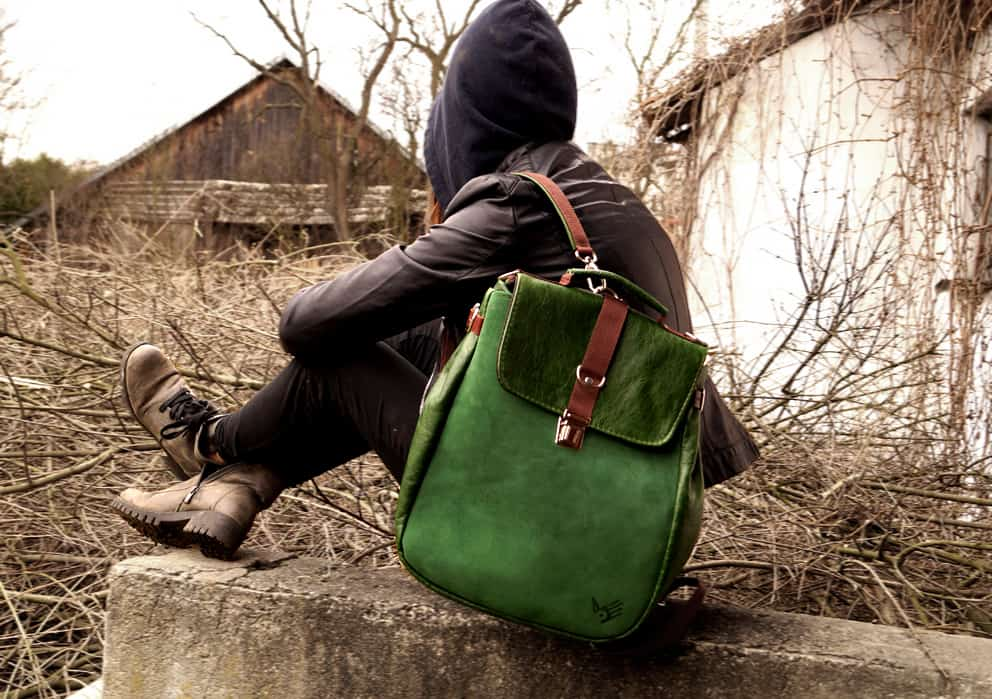 dccf79c7e384a LILITH plecak torba zielona skóra » CzajkaCzajka Autorska Pracownia  Galanterii Skórzanej
