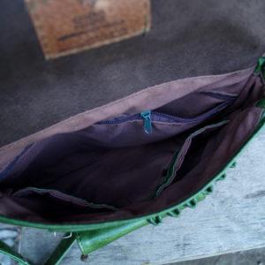 ahoj teczka zielona środek podszewka kieszenie
