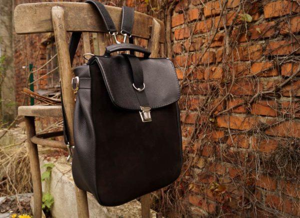 Lilith torba plecak skórzany czarny