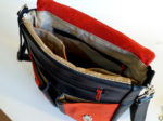 plecak prl czarny czerwony podszewka kieszenie wnętrze
