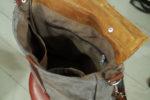 plecak kostka kwadrat szary brązowy orzech podszewka kieszenie