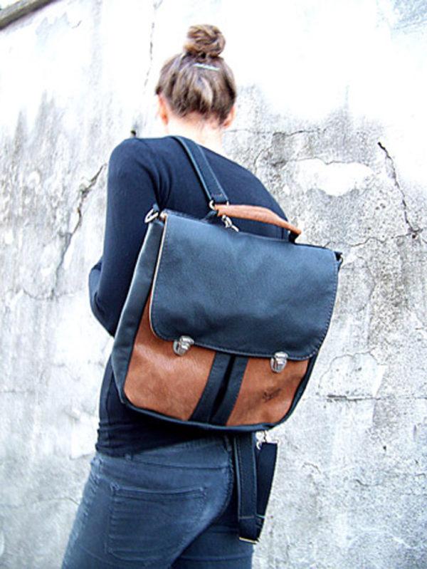 plecak teczka prl czarno orzech modelka główne