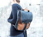 plecak teczka prl czarno orzech modelka ramię