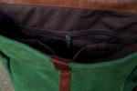 plecak teczka zielona orzechowa wnęrze kieszenie
