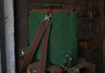 plecak teczka zielona orzechowa tył szelki