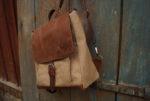 plecak włóczykij brezent len orzech 4 na jednej szelce