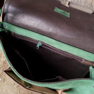 włóczykij zielony zamsz brąz wnętrze skórzane kieszenie
