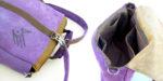 plecak liliowo orzechowy tył szelki wnętrze kieszenia