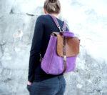 plecak liliowo orzechowy modelka