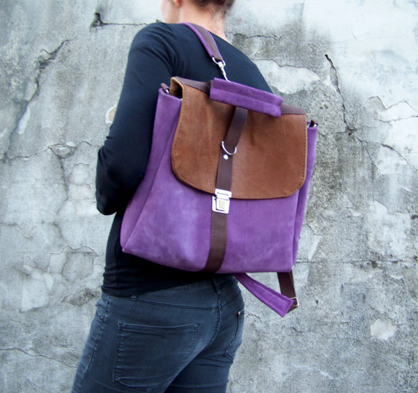 plecak liliowo orzechowy modelka casual