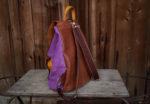 cycylia liliowa zamsz skóra orzechowa tył szelki karabinki