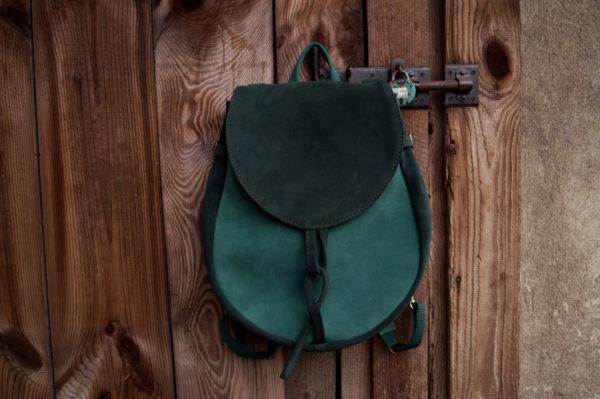 lizbeth plecak zaokrąglony zielony zamsz