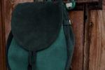 lizbeth plecak zaokrąglony zielony zamsz okucia stare złoto