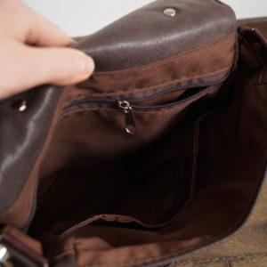 plecak prl ciemny brąz kieszenie wewnętrzne